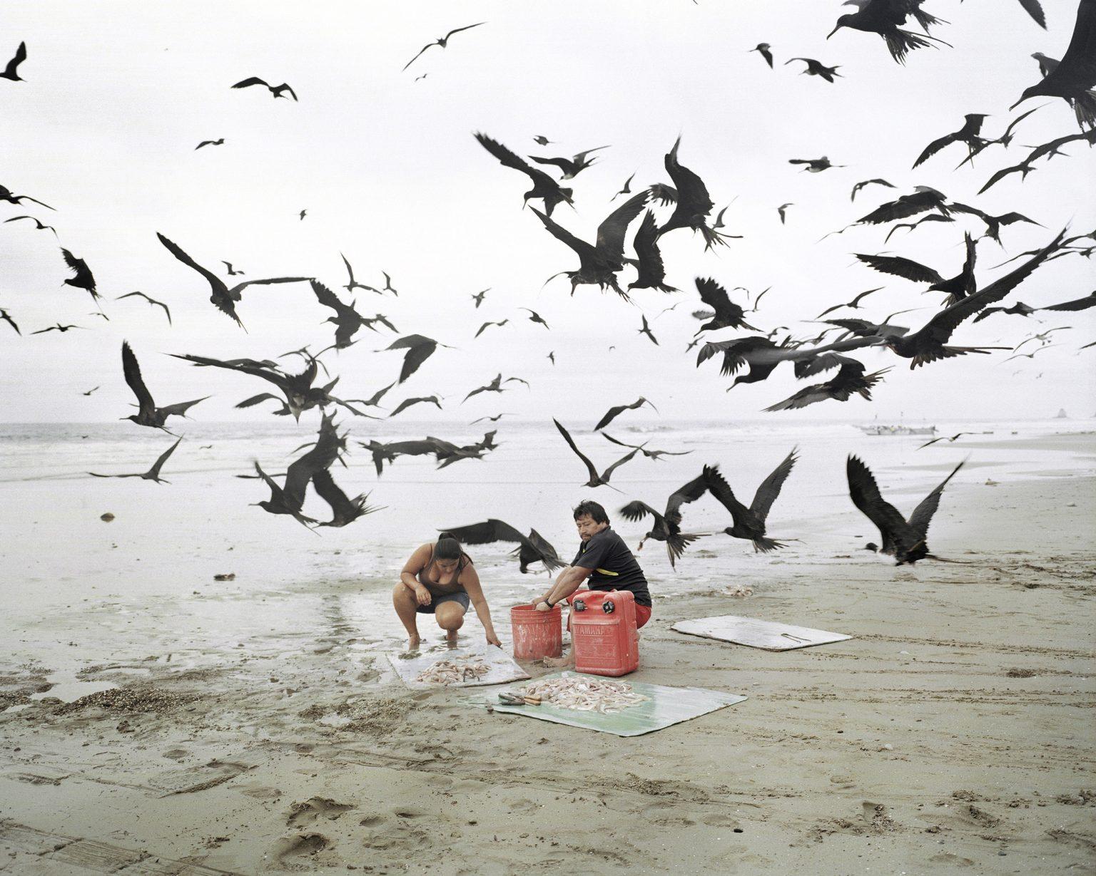 Un pescatore pulisce il pesce insieme a sua moglie su una spiaggia di Manabì. Ottobre 2012.   A fisherman cleans the fish with his wife on a beach in Manabì. October 2012.