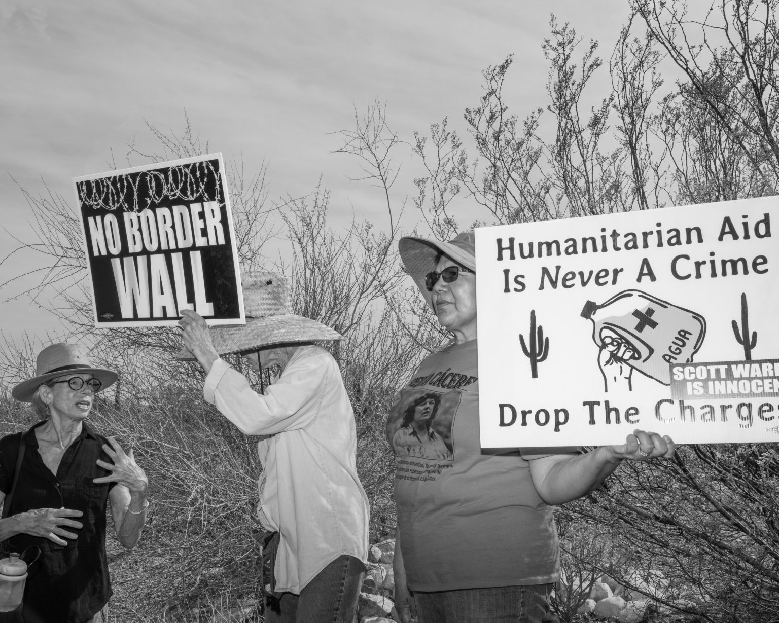 Activists during a demonstration against the constructionn of a new section of border fence in the Sonoran Desert. Lukeville, Arizona. November 2019.
