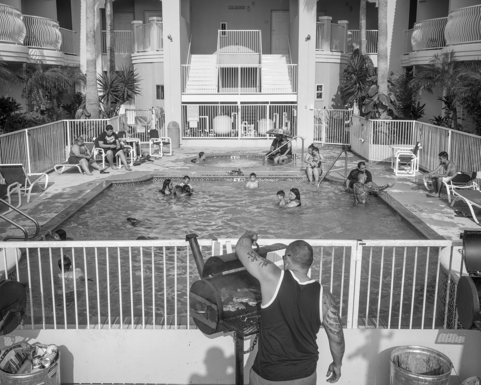 Mexican families during spring break holidays at a motel in South Padre Island, TX.