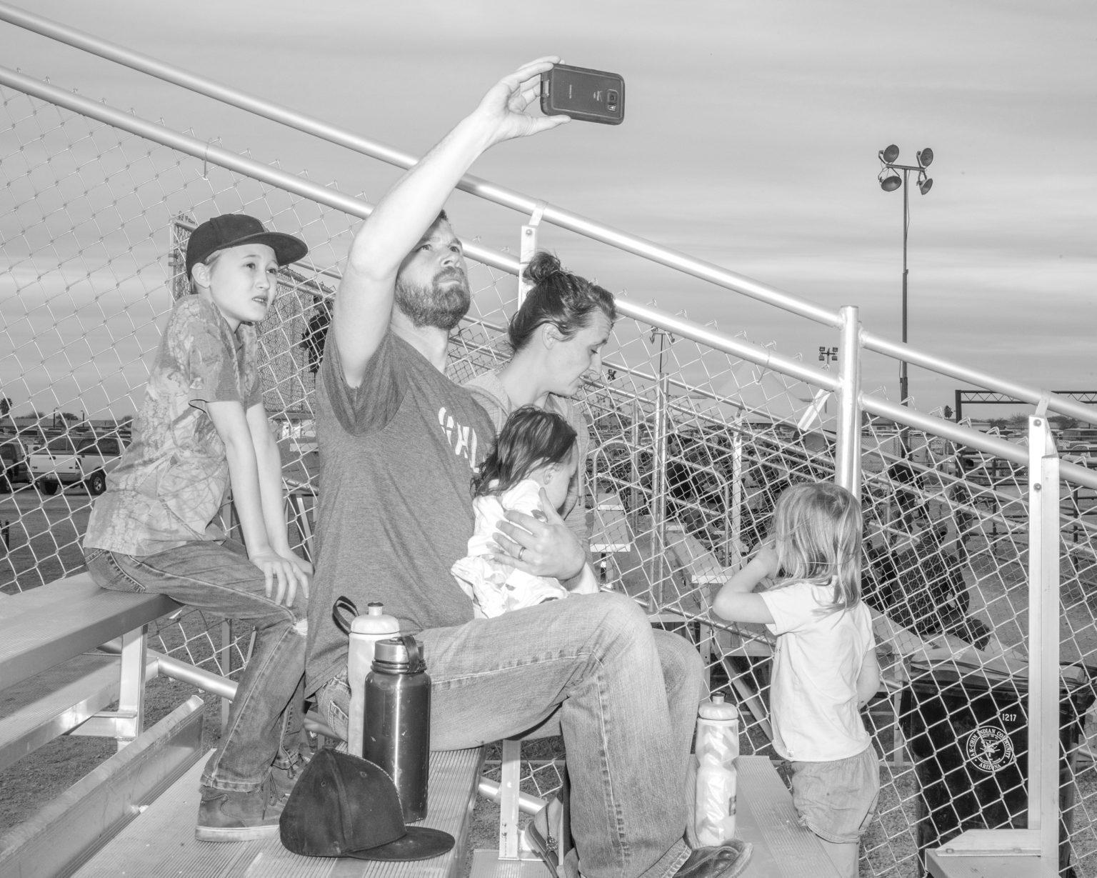 A family at a Native celebrations rodeo in Maricopa, Arizona. December 2017.