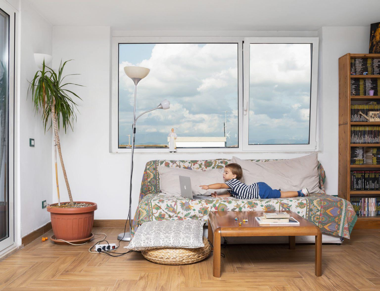 Italy, Rome, September 2018: Mattia, 3 years old, in the apartment where he lives with his family. / Italia, Roma, Settembre 2018: Mattia, 3 anni, nell'appartamento in cui vive con i suoi genitori. *Stitched photograph*
