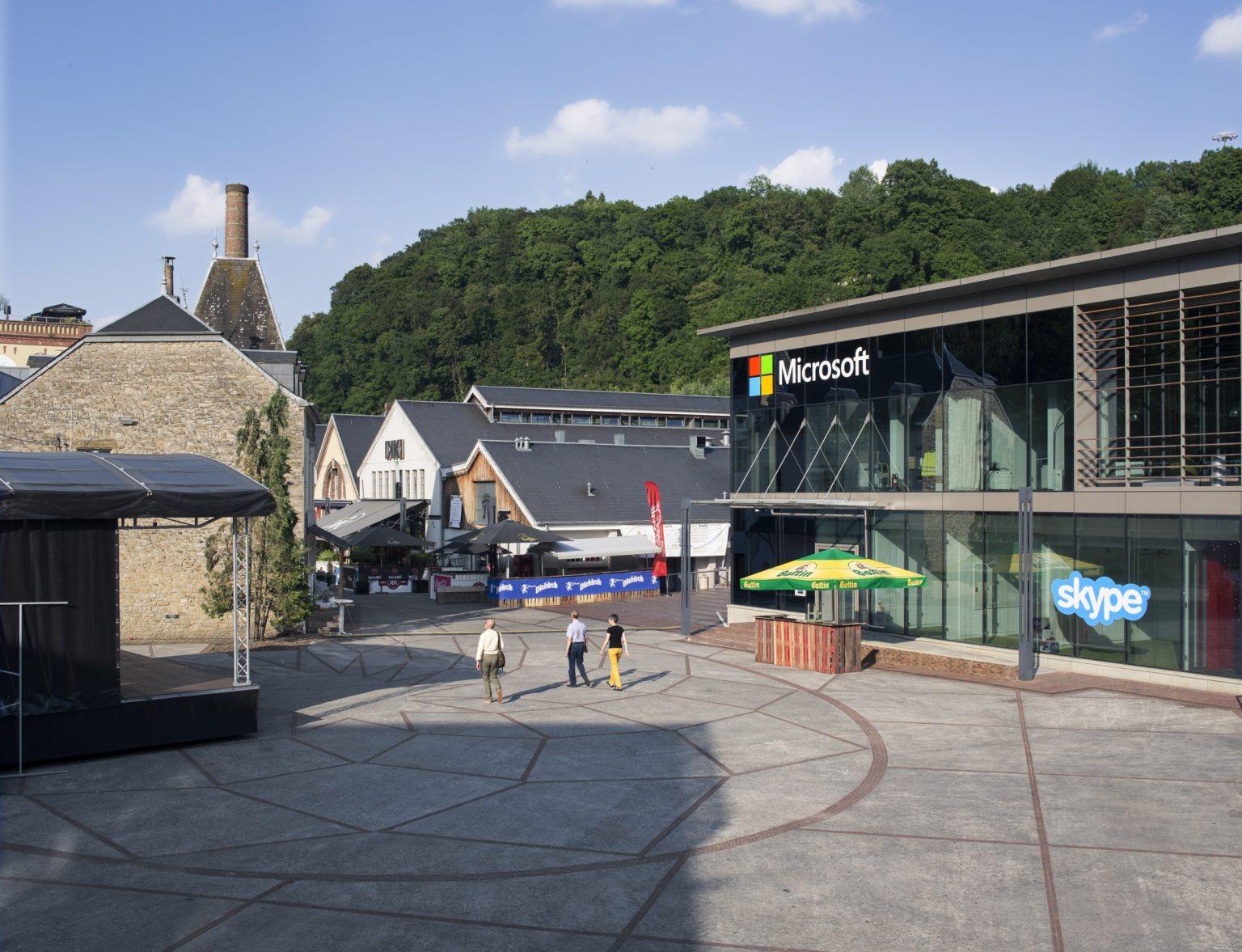 Grand Duchy of Luxembourg, Luxembourg City, July 2016: a view  of the global headquarter of Skipe. / Gran Ducato di Lussemburgo, Lussemburgo, Luglio 2016: una veduta del quartier generale di Skipe.*Stitched photograph*