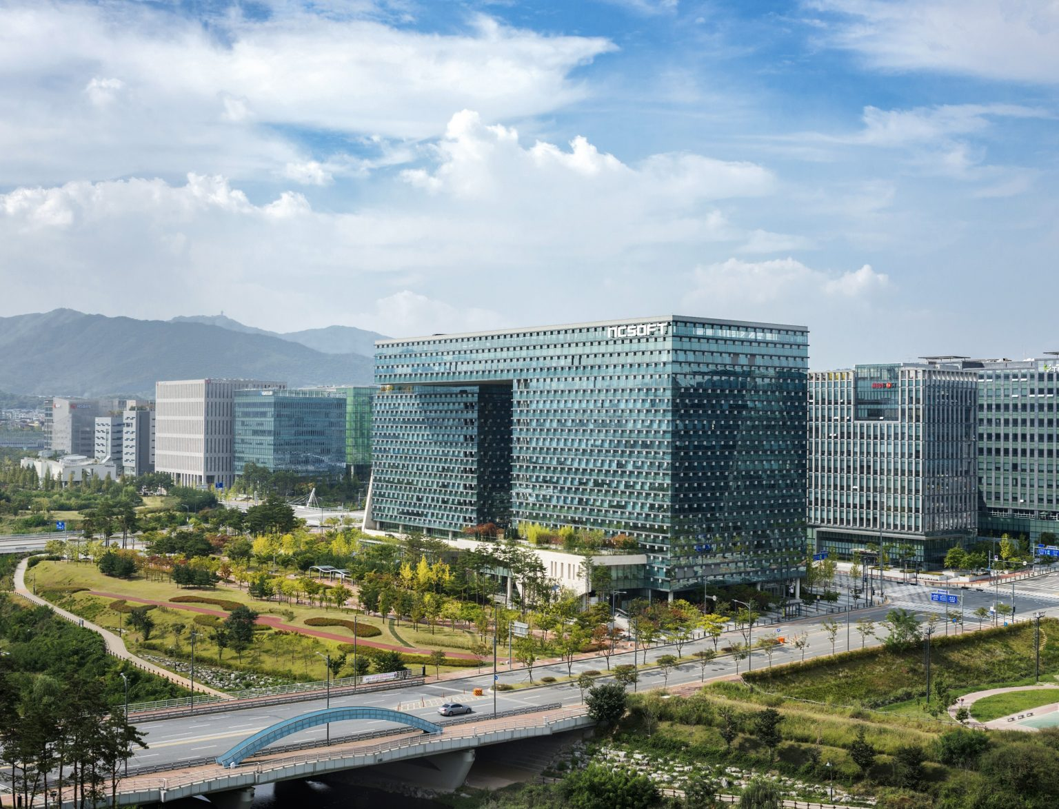 Republic of Korea, Seongnam, G?yeonggi-do, Pangyo, September ?2015 - An exterior view of the? NCsoft's headquarter. NCsoft ?is the second producer of onli?ne games in South Korea. *Stitched photograph*