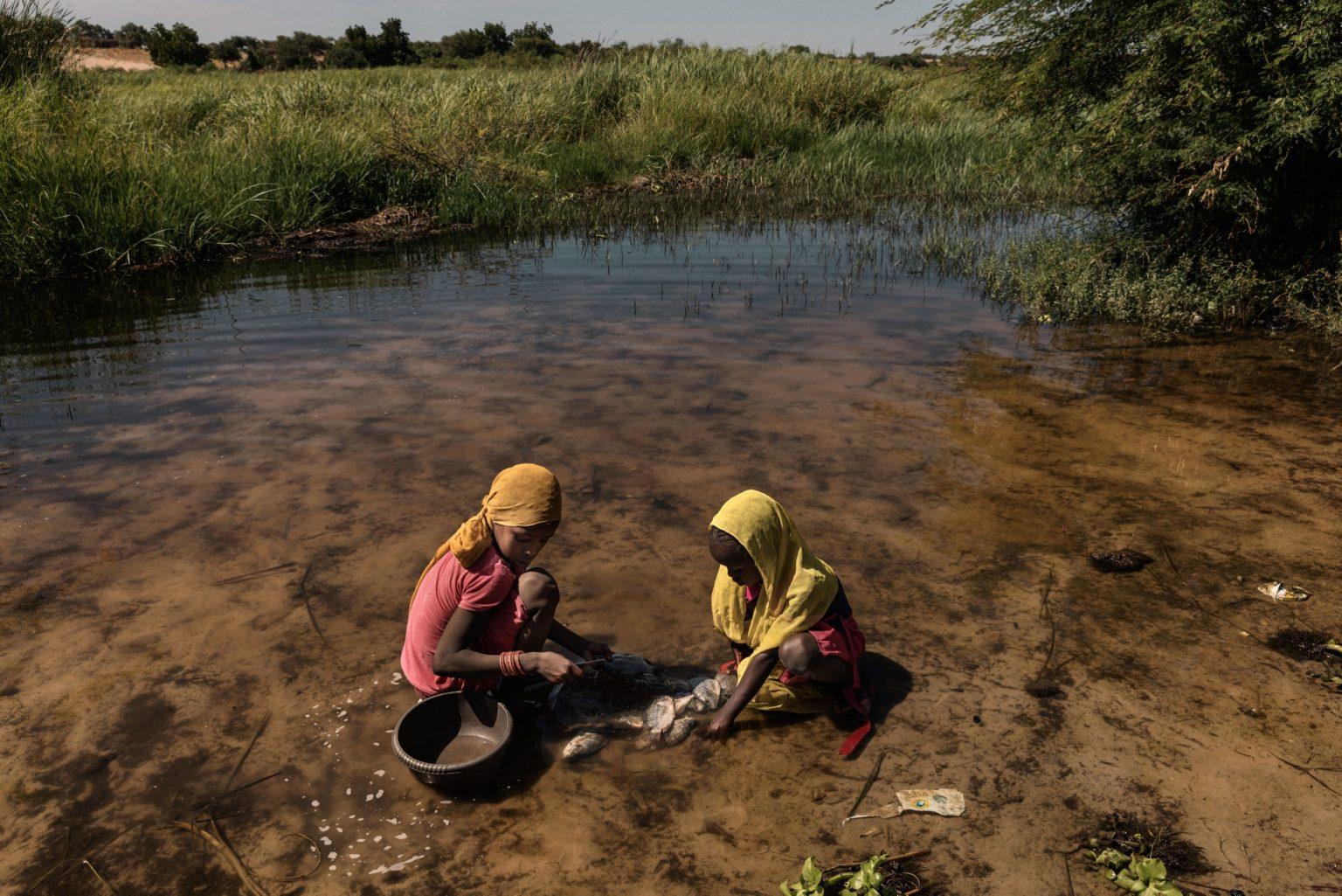 Africa, Chad, Bol, October 2018 - A severe humanitarian crisis is underway in the Lake Chad basin. Over two million refugees, as well as five million people are at risk of food insecurity and 500,000 children are suffering from acute malnutrition. Lake Chad is shrincking rapidly, due to desertification that is threatening the very existence of the people who live on its banks and the ecosystem of its waters. Chad was once the fourth largest lake in Africa. However, since the 1950s its surface has shrunk by 90%. >< Africa, Ciad, Bol, Ottobre 2018 - Una grave crisi umanitaria si sta abbattendo sul Lago Ciad. Oltre due milioni di rifugiati e cinque milioni di persone sono minacciati dall?insicurezza alimentare; 50,000 bambini soffrono di malnutrizione acuta. Il Lago Ciad si sta restringendo rapidamente per via della desertificazione che sta mettendo in pericolo l'esistenza stessa delle persone che vivono sulle sue sponde e l'ecosistema delle sue acque. Ciad era un tempo uno dei quattro laghi più grandi in Africa. Tuttavia, dal 1950 la superficie si è ridotta del 50%.*** SPECIAL   FEE   APPLIES *** *** Local Caption *** 01362888