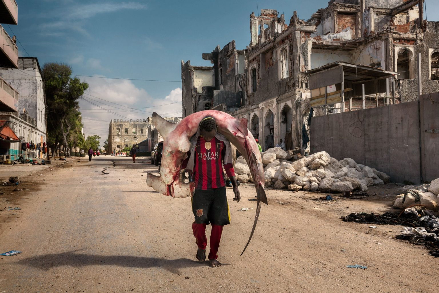 Africa, Somalia, Mogadishu. 10/10/2015. A man carries a shark through the streets of Mogadishu. A recent escalation of plunders of Somali waters by foreign fishing vessels could mean the return of hijackings, locals warn. The country's waters have been exploited by illegal fisheries and the economic infrastructure that once provided jobs has been ravaged.