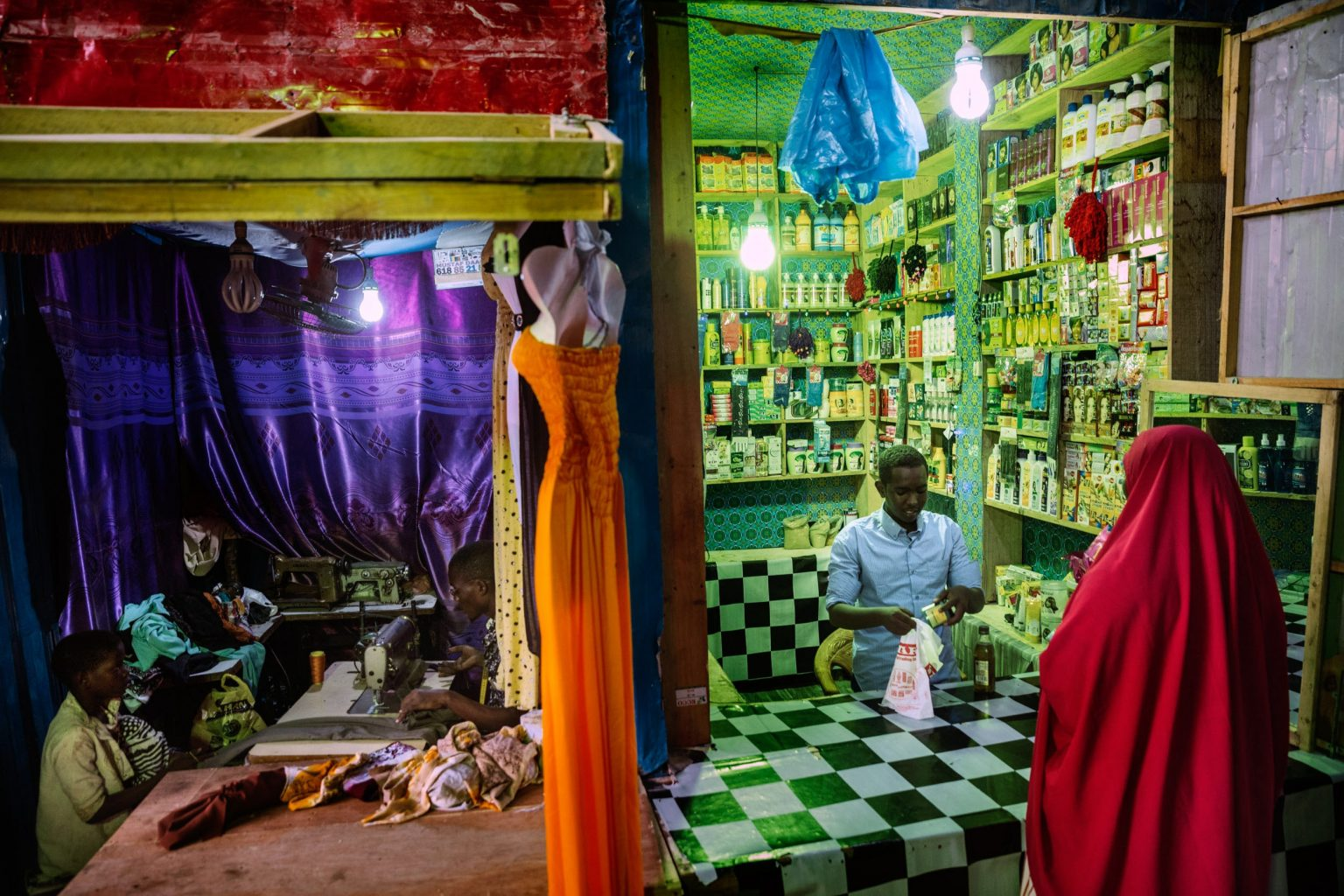 Africa, Somalia, Benaadir region. Mogadishu. 16/09/2017. Medina Market, in the Wadajir district. Halane's shop belongs to youth entrepreneurship group's shops program, trained and support by concern in BRCiS's consortium program.