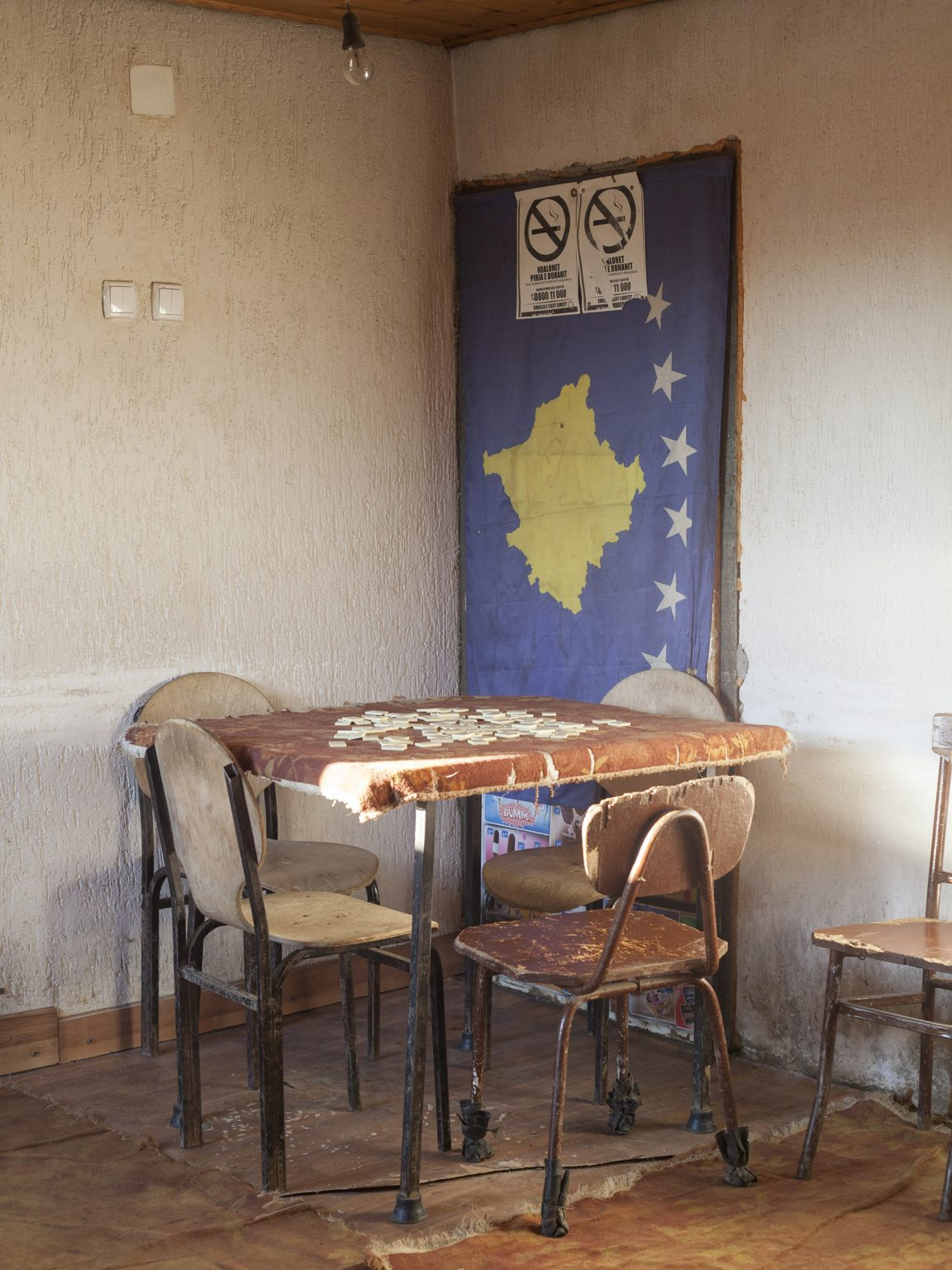 View of a cafe in the village of Rakinic, near Skënderaj / Srbica. The population of this region, a stronghold of the KLA (Kosovo Liberation Army) during the war, is considered very attached to the Albanian nationalistic values.