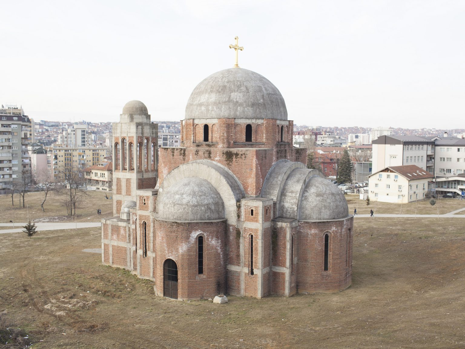 View of the church of Christ the Saviour in Prishtina / Priština, an unfinished Serbian Orthodox Christian church whose construction began in 1995 on land now contended by the University.