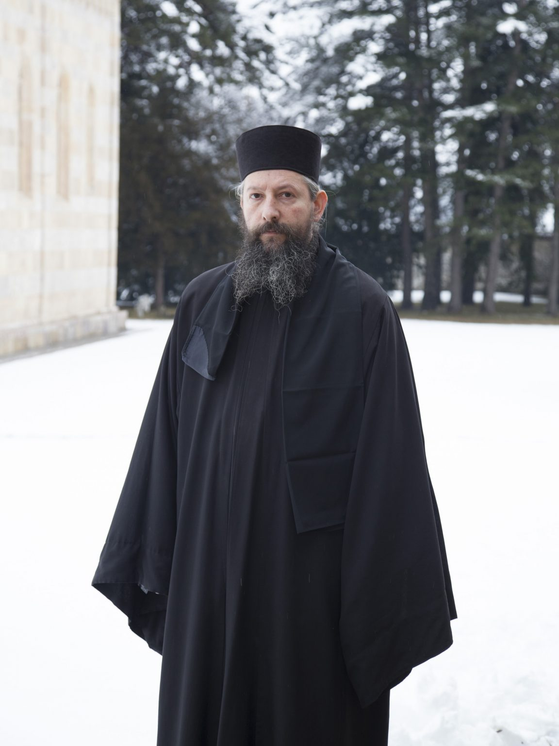 Father Peter, Orthodox Christian priest in the Deçan / Dečani Monastery.  The monastery of the 14th century is considered one of the most important palces for the Serbian cultural heritage.