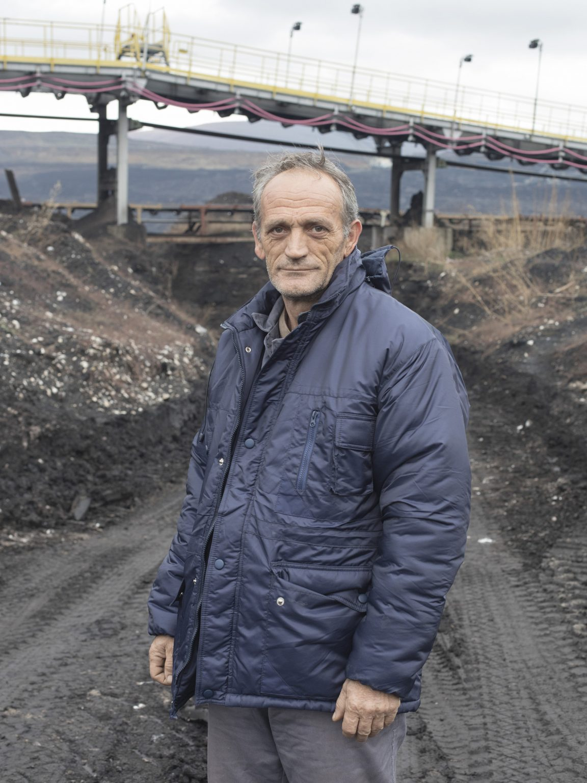 Portrait of Faik Mulaj worker of the Sibovc coal mine located in Obiliq / Obilić, District of Prishtina / Priština. The mine, owned by KEK (Kosovo Energy Corporation) has coal reserves amounting to 1 billion tonnes of lignite, one of the largest lignite reserves in Europe.