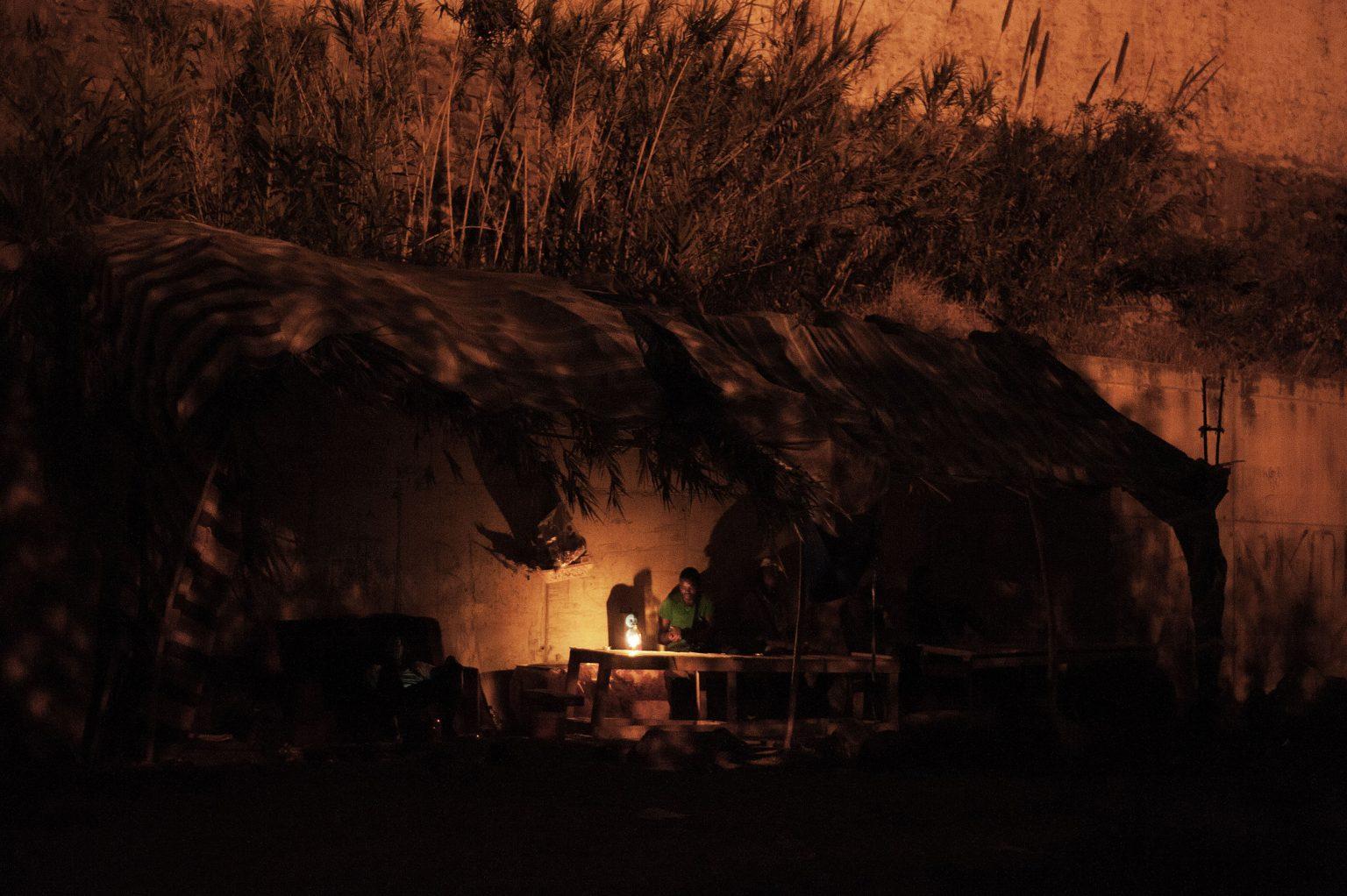 Melilla, Spain, August 2014 - The ghetto near the CETI, where many immigrants pass their time waiting for the day of leaving for Malaga.  >< Melilla, Spagna, agosto 2014 - Il ghetto vicino al CETI, dove molti  immigrati passano il tempo aspettando di partire per Malaga *** Local Caption *** 00534503