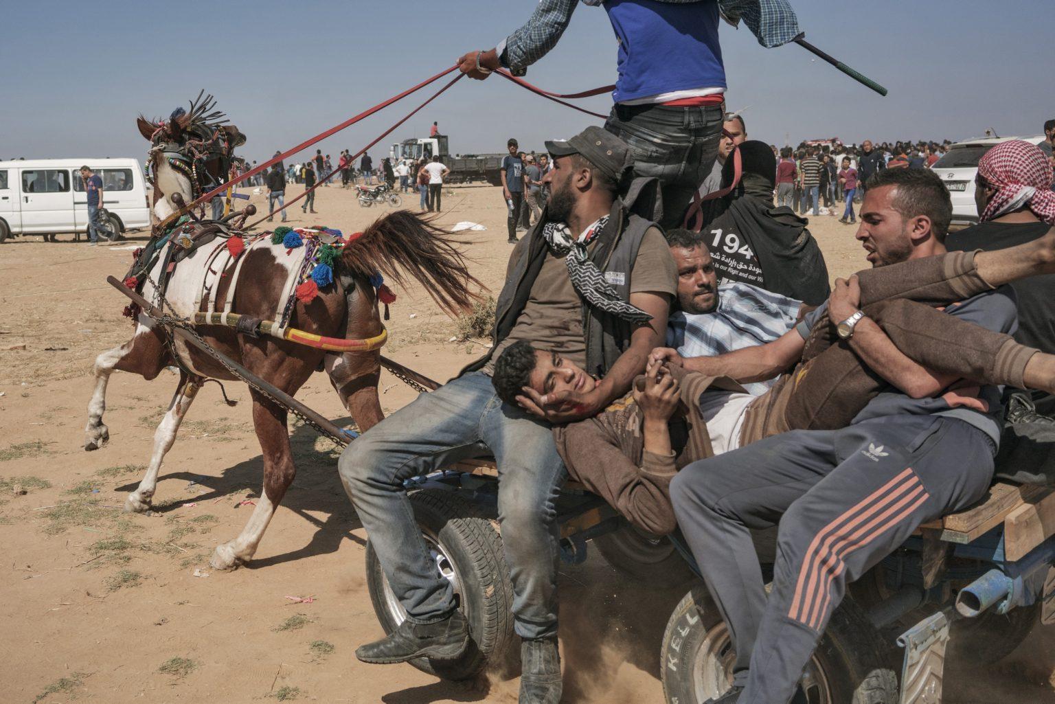 Gaza Strip, May 2018 - An injured Palestinian man is evacuated on a horse-drawn cart along the Gaza-Israel border. >< Striscia di Gaza, maggio 2018 - Un uomo ferito durante le proteste viene evacuato a bordo di un carro lungo il confine tra Gaza e Israele.