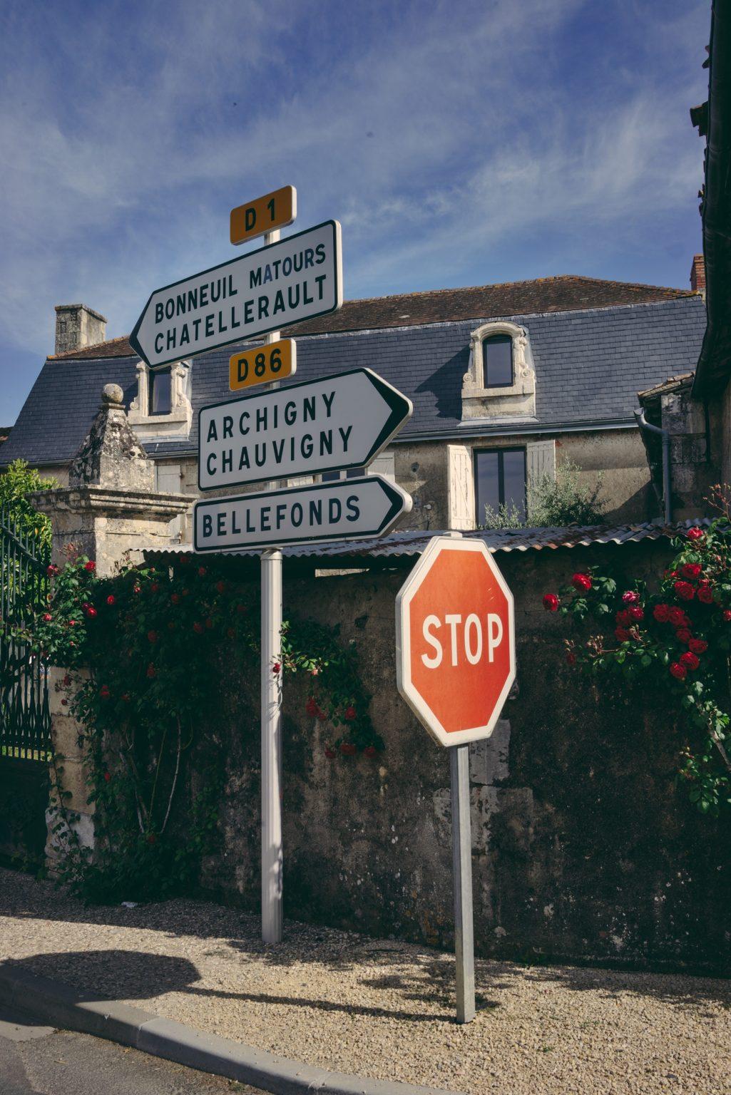 La Chapelle-Moulière, France, May 2017 - Road junction not far from Tristan Plot's former house. ><  La Chapelle-Moulière, Francia, maggio 2017 - Incrocio stradale non lontano dalla vecchia casa di Tristan Plot.*** SPECIAL   FEE   APPLIES *** *** Local Caption *** 01489360