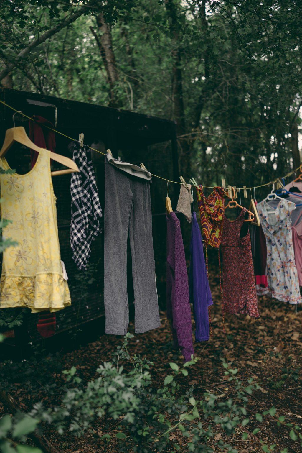 Valdivienne, France, May 2019 - Some clothes from Tristan's family drying in between the trees. ><  Valdivienne, Francia, may 2019 - Alcuni vestiti della famiglia di Tristan che si asciugano tra gli alberi.*** SPECIAL   FEE   APPLIES *** *** Local Caption *** 01489333