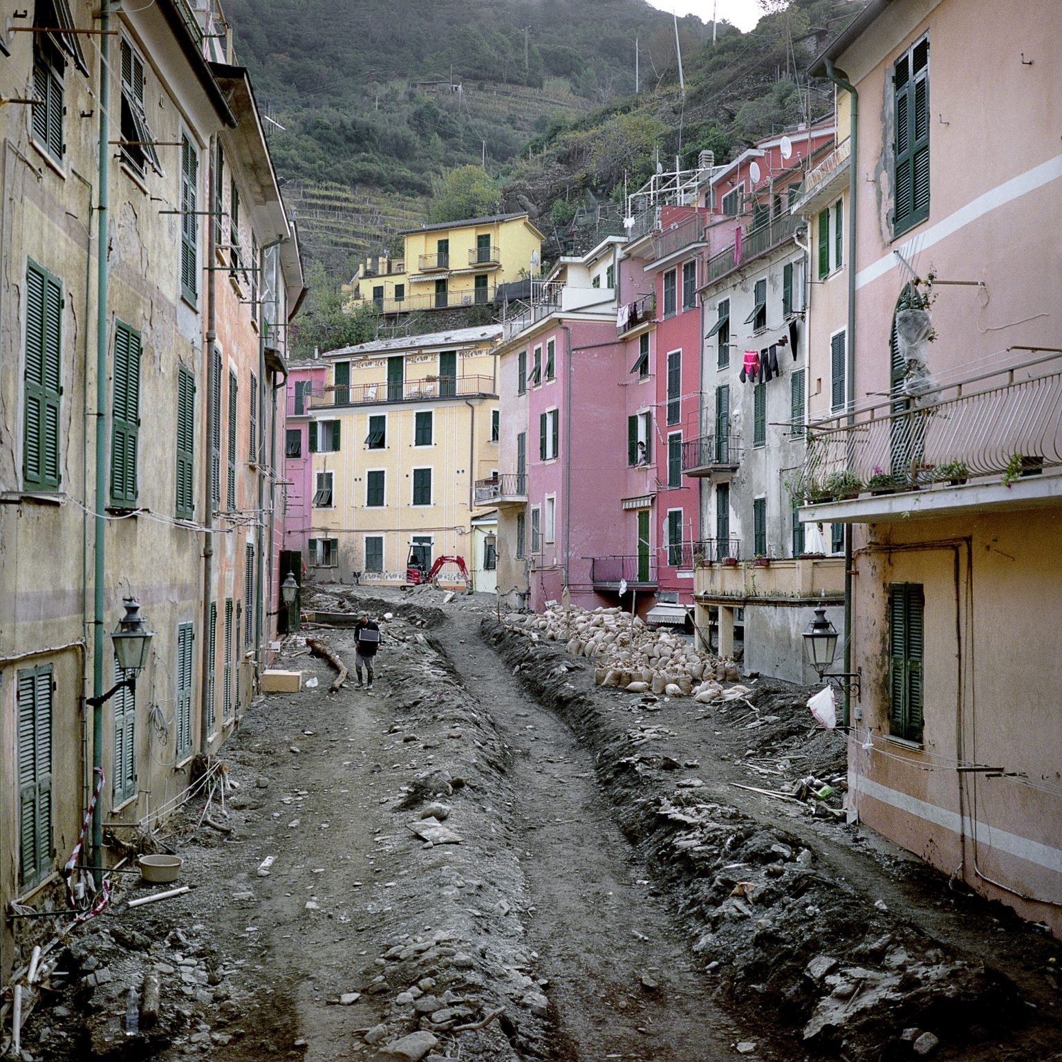 Vernazza, November 2011. After the intense rain the town was hit by a severe flood that caused much damage to the buildings and economic activities. The main road in Vernazza, covered by 4 meters of mud.