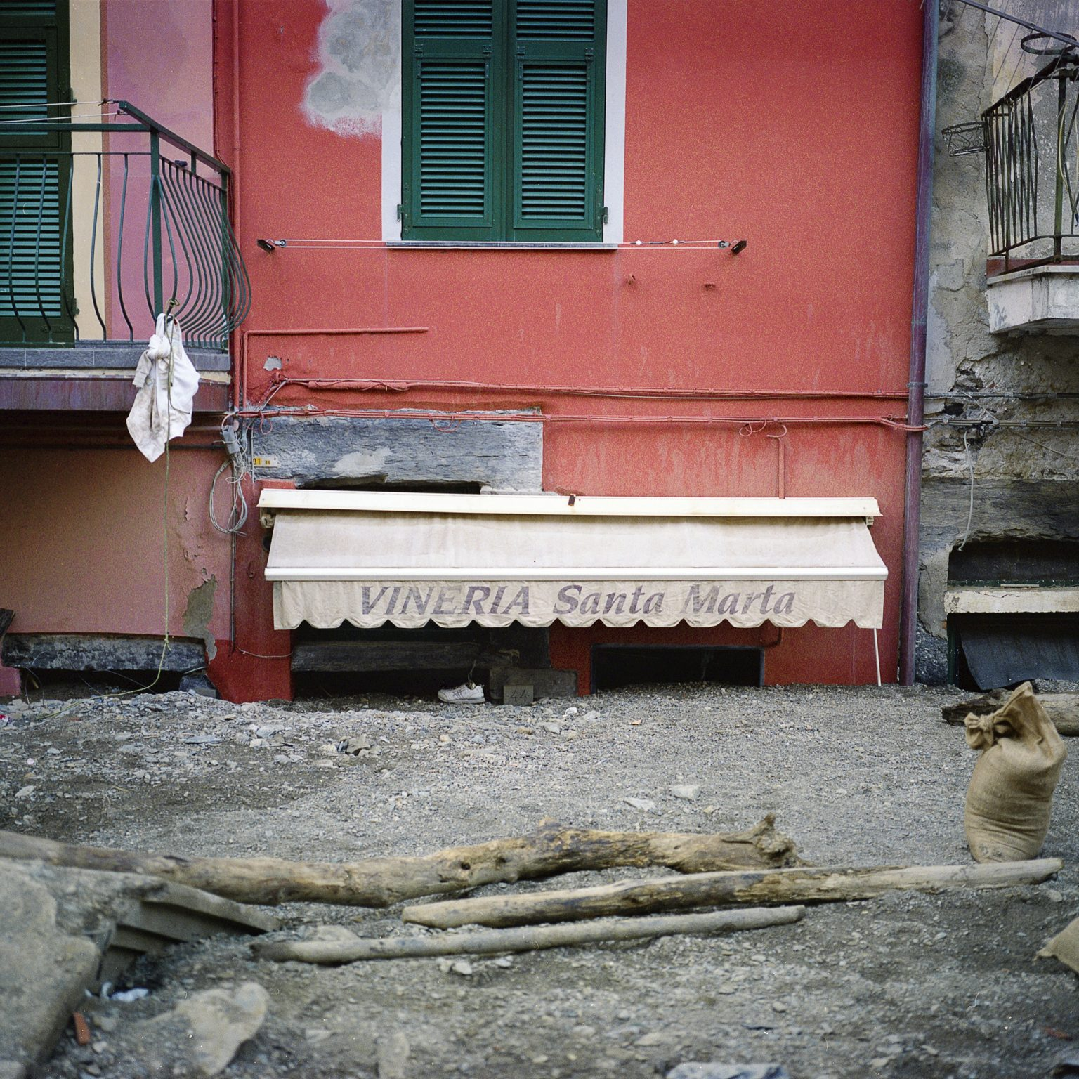 Vernazza, November 2011. After the intense rain the town was hit by a severe flood that caused much damage to the buildings and economic activities. A shop completely submerged by mud.