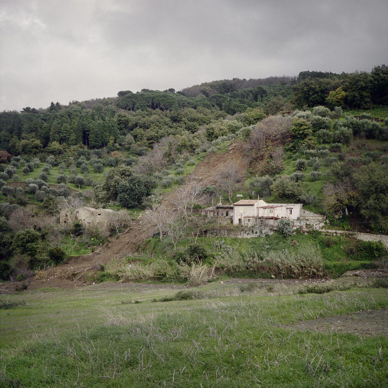 Migliardo, a locality near Barcellona Pozzo di Gotto, December 2011. A landslide near an house of the town.
