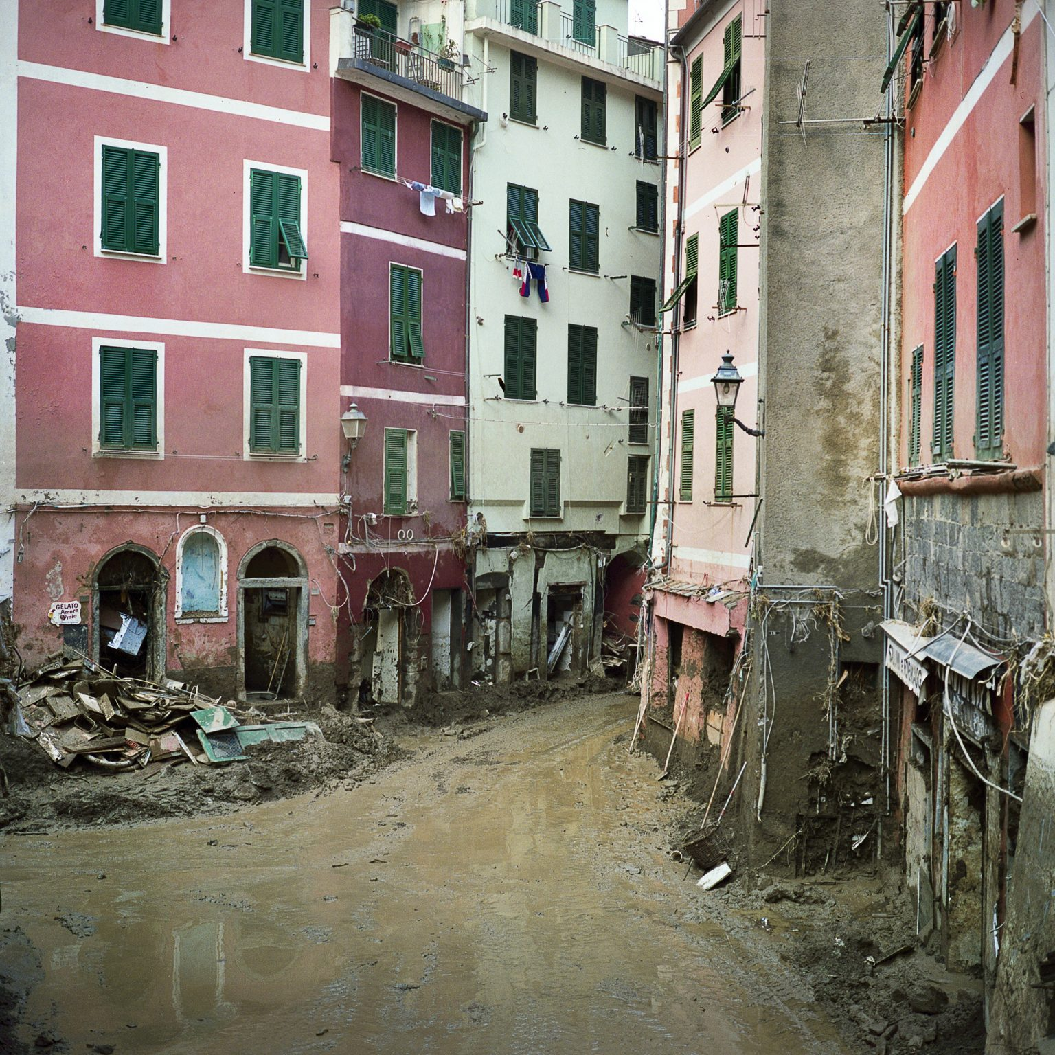 Vernazza, November 2011. After the intense rain the town was hit by a severe flood that caused much damage to the buildings and economic activities.