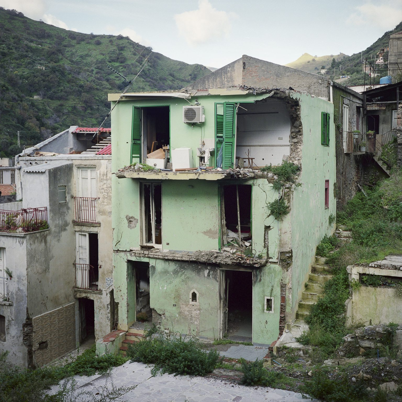 Giampilieri Superiore, December 2011. The area hit by the landslide of October 2009, now a ghost town, left in the same conditions. The damages in the area where huge, and the amount of deaths got to 37 people, including several children.