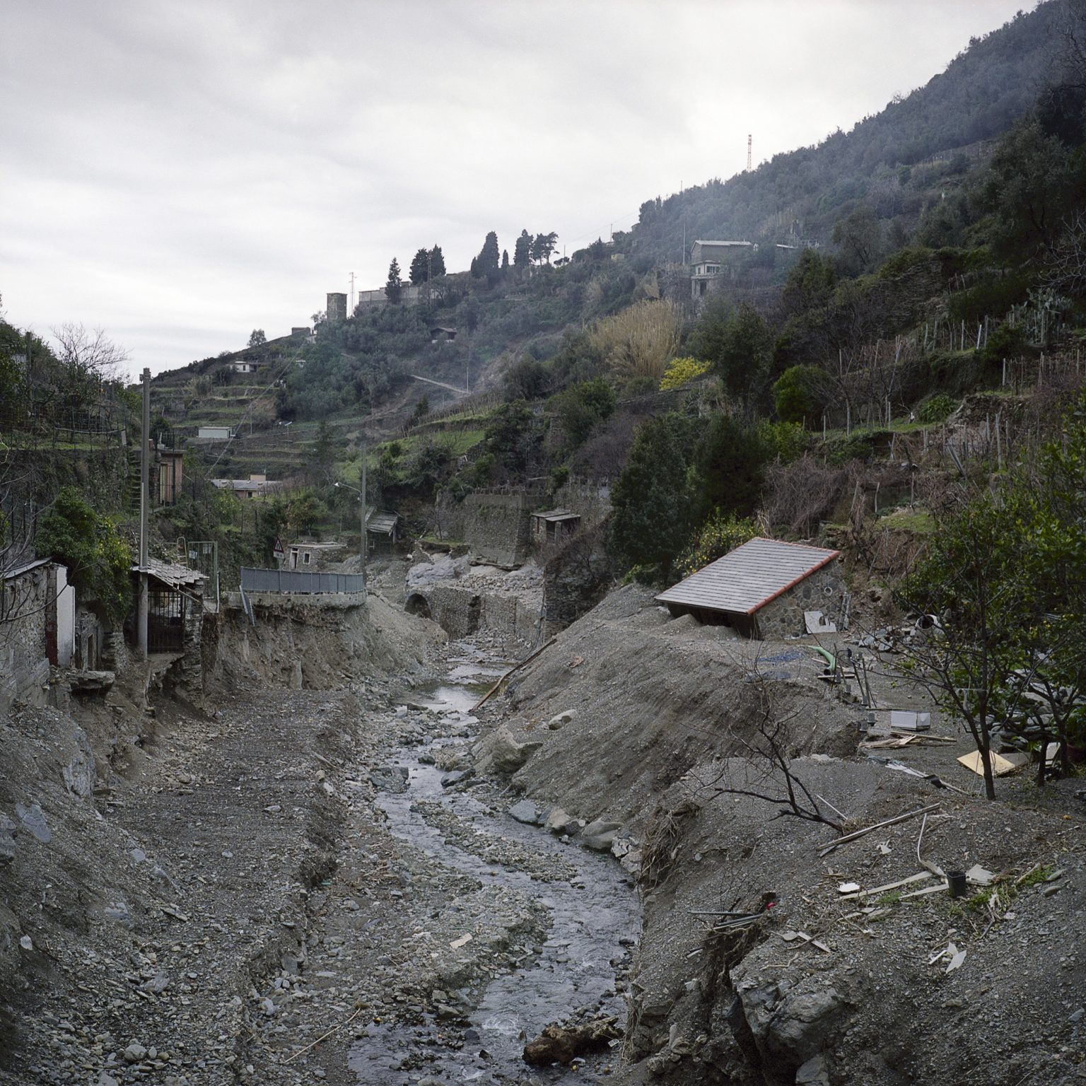 Vernazza, January 2012. The upper part of town severely damaged by the flood of October 2011.