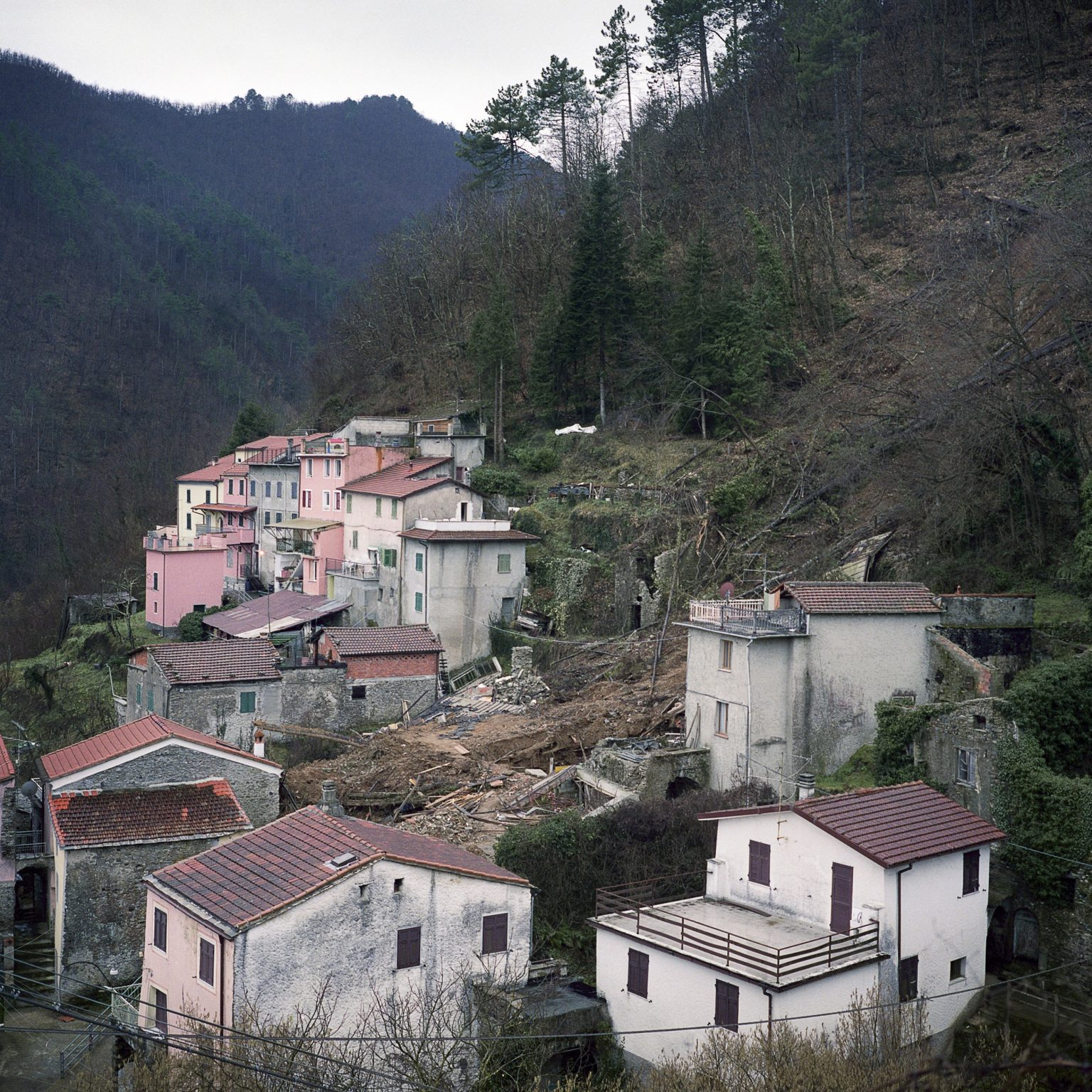 January 2012, Cassana. A view of the town of Cassana, where a landslide destroyed several buildings causing the death of 5 people.