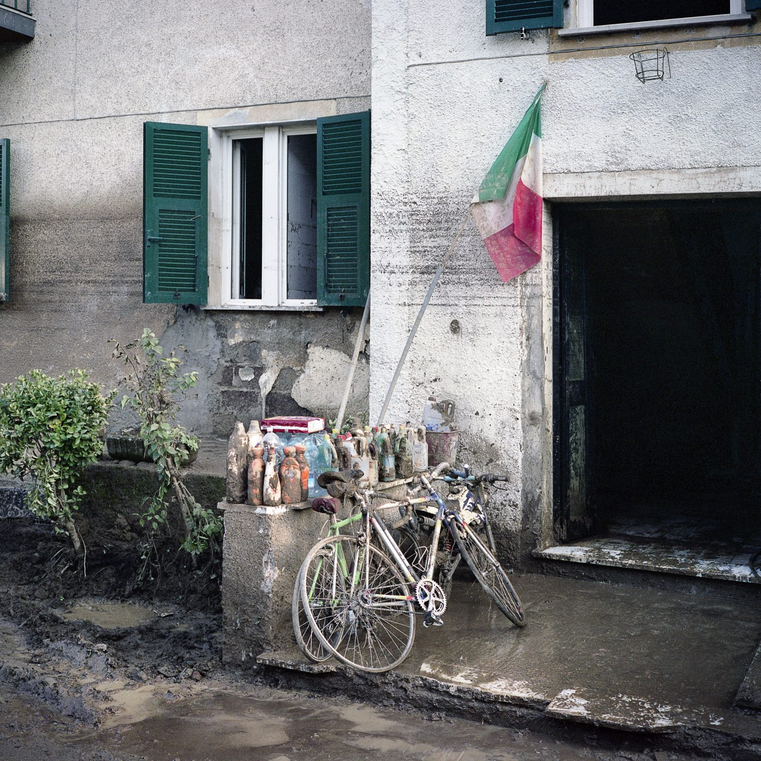 Borghetto di Vara, November 2011. After the intense rain the town was hit by a severe flood that caused 7 deaths and much damage to the buildings and economic activities. The entrance of a house damaged by the flood.
