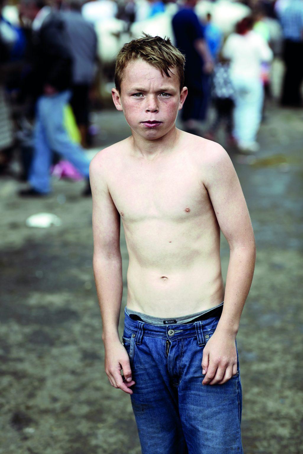 Appleby, United Kingdom, June 2014 - Appleby Horse Fair. A young jockey after the race. ><  Appleby, Regno Unito, giugno 2014 - Appleby Horse Fair. Un giovane fantino dopo la gara. *** Local Caption ***