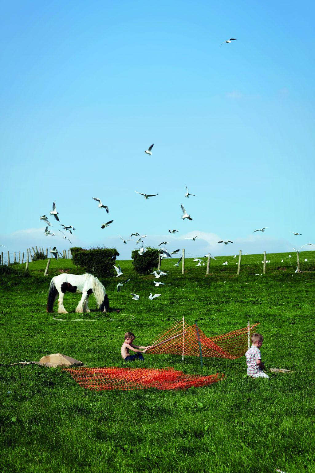 Appleby, United Kingdom, June 2016 - Appleby Horse Fair. Mason playing with his best mate in the fields behind the market parking lot. ><  Appleby, Regno Unito, giugno 2016 - Appleby Horse Fair. Mason gioca col suo migliore amico nei campi retrostanti il parcheggio del negozio. *** Local Caption ***