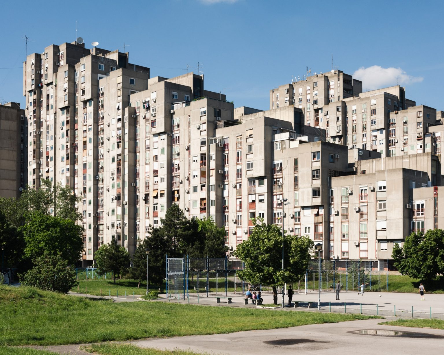 Belgrade, Serbia, May 2021.  Apartment blocks in Juri Gagarin street, Novi Beograd neighbourhood.  The former Bosnian Serb leader Radovan Karadzic lived in this area during his years as a fugitive. There he adopted the identity of Dragan Dabic, a self-styled spiritual healer, and started to give lectures and work as a consultant for private health companies until he was arrested in July 2008. In 2019 he was sentenced to life imprisonment over his role in the mass killings of civilians in the conflict in Bosnia.