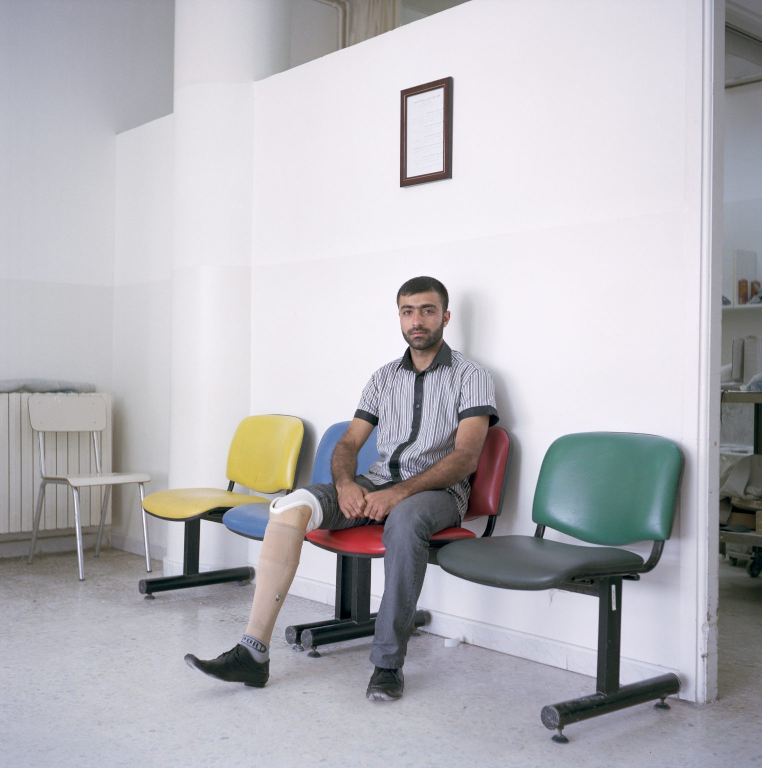 Sarafand, Lebanon. Lebanese Welfare Association for the Handicapped, Nabih Berri Rehabilitation Compound.  Ali Mrah, aged 30, from Tyre, is a former demining operator. He lost his right leg in 2009 while clearing an area where cluster bombs where dropped by Israeli aviation during 2006 war.