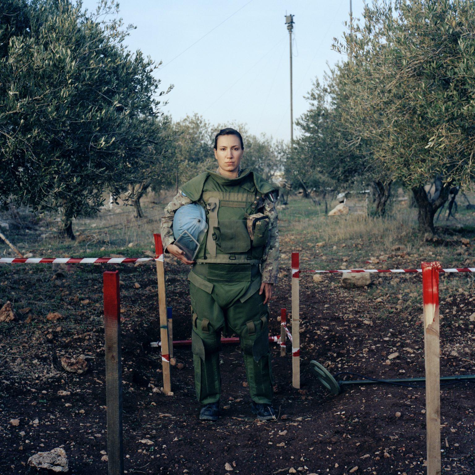 Chamaa, Lebanon. Main barracks of the UNIFIL Italian contingent. Senior CorporalGiovanna La Rosa, sapper, dressed with demining suit