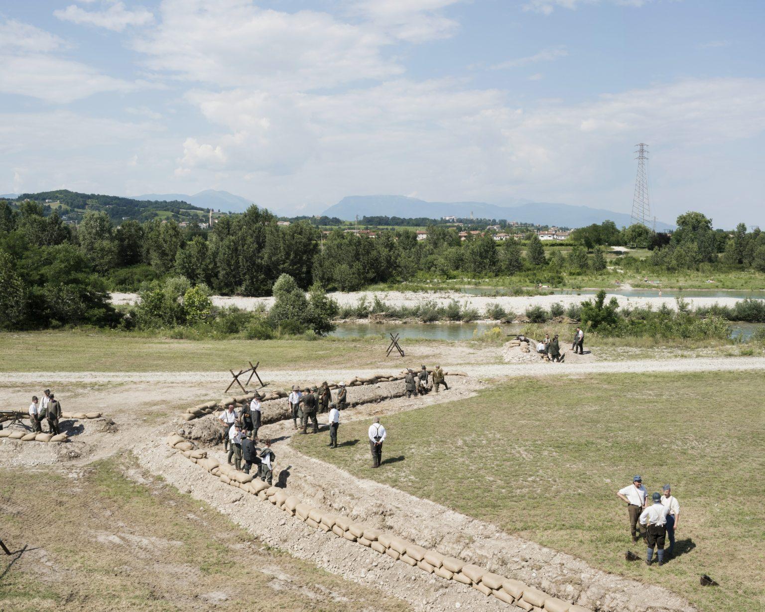 Nervesa della battaglia (Treviso). Re enactment of the second battle of the Piave river. Re enactors prepare the field before the battle begins.