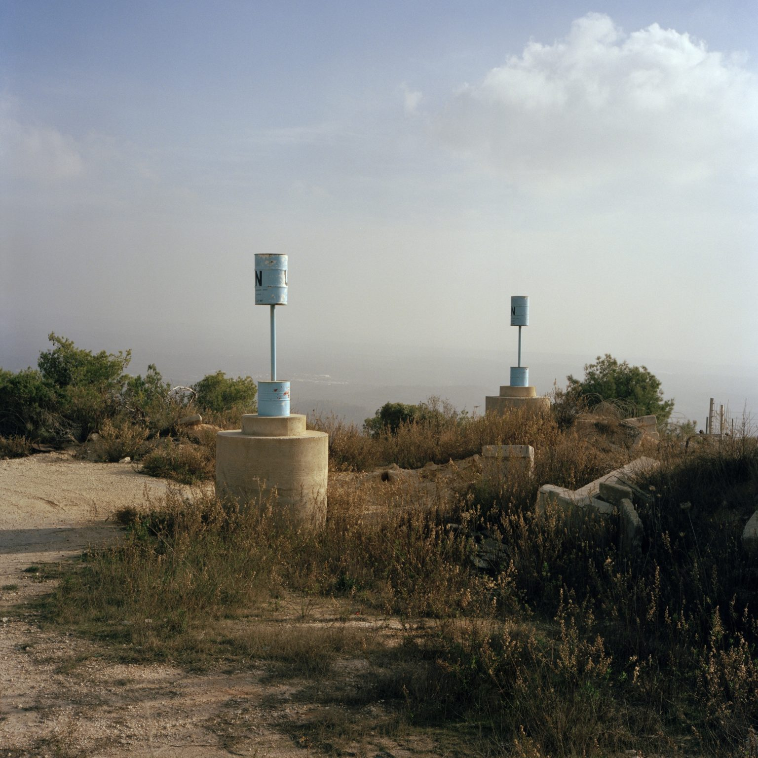 Alma Ach Shaab, Lebanon. Outside the UNIFIL Italian Advanced Position 1-31 along the Blue Line, Blue Pillars are planted by Unifl to sign the border on the ground. For the position of each pillar an agreement is made between the Lebanese army and the Israeli Defence Force, brokered by Unifl representatives.